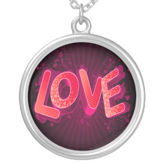 pink love round pendant necklace