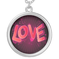 pink love silver plated necklace