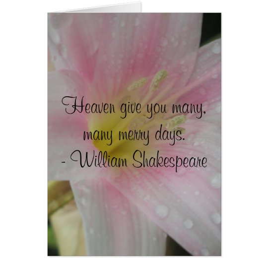 Pink Love Wedding Shakespeare Quote Card