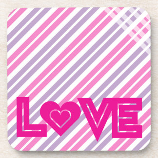 Pink Love with Heart Drink Coaster