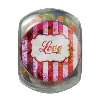 Pink Love with Stripes Glass Candy Jar