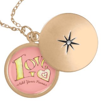 Pink Love Word with Heart Gold Locket