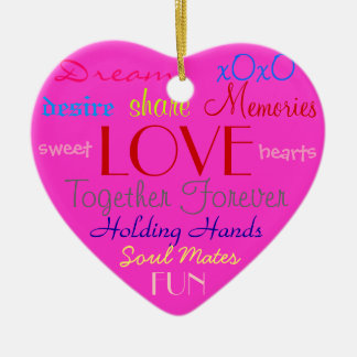 Pink Love Words Ornament