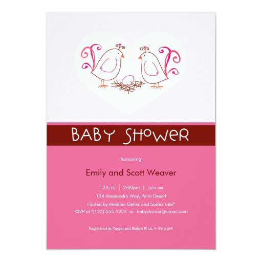 Pink Lovebirds and Nest Baby Shower Invitations