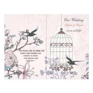 "pink lovebirds  bircage bi fold Wedding program 8.5"" X 11"" Flyer"