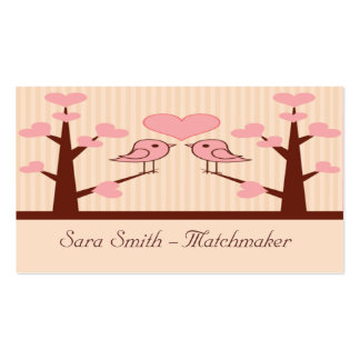 Pink Lovebirds On Limbs Double-Sided Standard Business Cards (Pack Of 100)