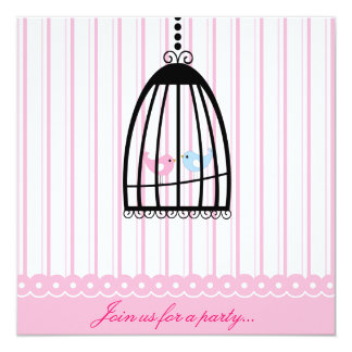 Pink Lovebirds Party Invitation