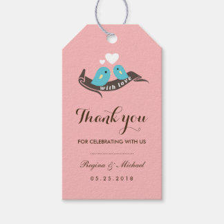 Pink Lovebirds with Small Heart Wedding Gift Tag