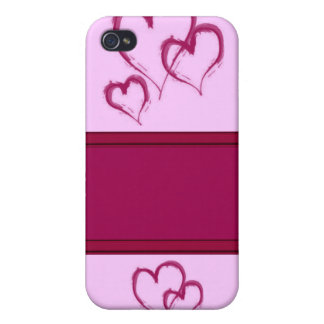 pink lovehearts customize your own name iPhone 4/4S covers