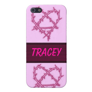 pink lovehearts customize your own name iPhone SE/5/5s case