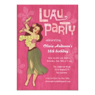 Pink Luau Birthday Party Invitations