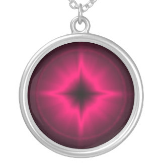 Pink luck star silver plated necklace