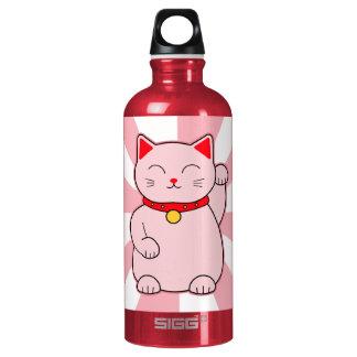 Pink Lucky Cat Aluminum Water Bottle