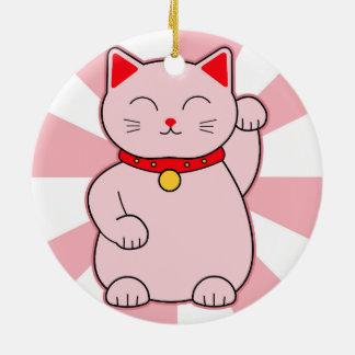 Pink Lucky Cat Ceramic Ornament