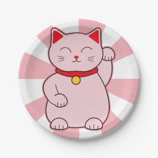 Pink Lucky Cat 7 Inch Paper Plate