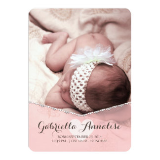 Pink Lullaby Baby Girl Photo Birth Announcement