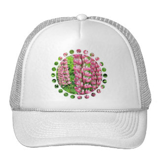 Pink Lupine Flowers Baseball Hat