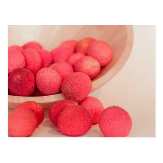 Pink Lychee Fruits In A Bowl  - Fruit Print Postcard