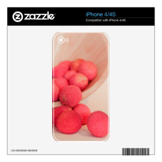 Pink Lychee Fruits In A Bowl  - Fruit Print Skin For iPhone 4S