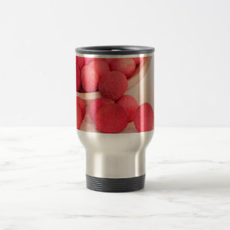 Pink Lychee Fruits In A Bowl  - Fruit Print Travel Mug