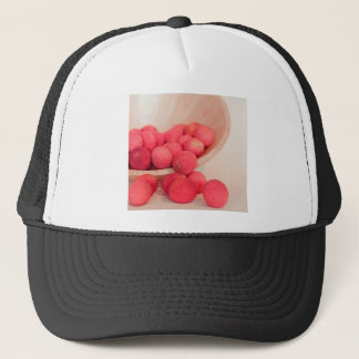 Pink Lychee Fruits In A Bowl  - Fruit Print Trucker Hat