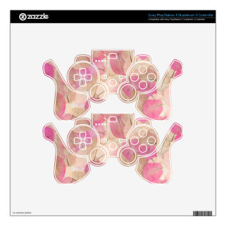 pink macro leaves PS3 controller decals