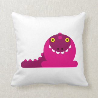 Pink Mad Dragon Throw Pillow