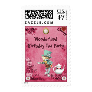Pink Mad Hatter Wonderland Birthday Tea Party Postage