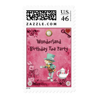 Pink Mad Hatter Wonderland Birthday Tea Party Postage Stamps