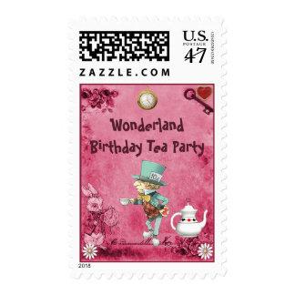 Pink Mad Hatter Wonderland Birthday Tea Party Postage Stamp