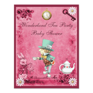 Pink Mad Hatter Wonderland Tea Party Baby Shower 4.25x5.5 Paper Invitation Card