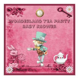 Pink Mad Hatter Wonderland Tea Party Baby Shower 5.25x5.25 Square Paper Invitation Card