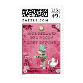 Pink Mad Hatter Wonderland Tea Party Baby Shower Stamps
