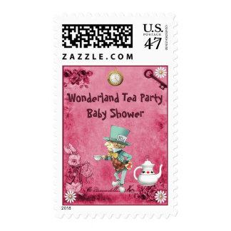 Pink Mad Hatter Wonderland Tea Party Baby Shower Postage