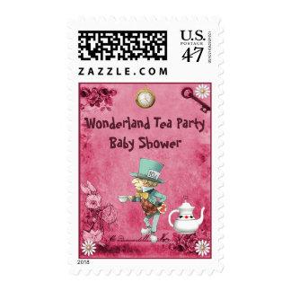 Pink Mad Hatter Wonderland Tea Party Baby Shower Postage