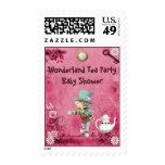 Pink Mad Hatter Wonderland Tea Party Baby Shower Postage Stamp