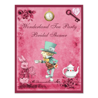 Pink Mad Hatter Wonderland Tea Party Bridal Shower Card