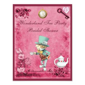 Pink Mad Hatter Wonderland Tea Party Bridal Shower 4.25x5.5 Paper Invitation Card