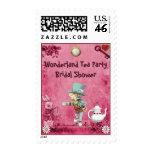 Pink Mad Hatter Wonderland Tea Party Bridal Shower Postage