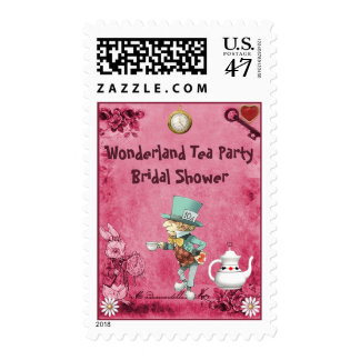 Pink Mad Hatter Wonderland Tea Party Bridal Shower Stamp