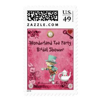 Pink Mad Hatter Wonderland Tea Party Bridal Shower Stamp