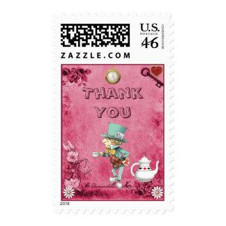 Pink Mad Hatter Wonderland Thank You Postage Stamps