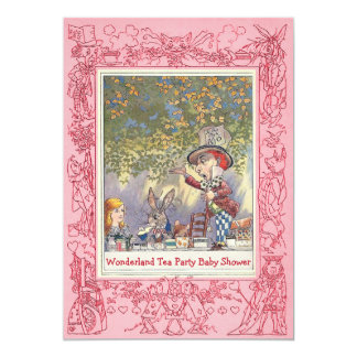 Pink Mad Hatter's Wonderland Tea Party Baby Shower 5x7 Paper Invitation Card