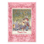 Pink Mad Hatter's Wonderland Tea Party Thank You Custom Announcements