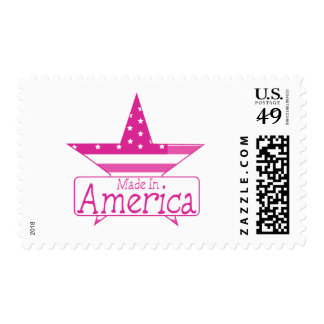 Pink Made In America Postage Stamp