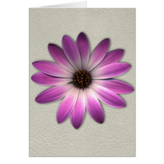 Pink Magenta  Daisy on Cream Leather Print Greeting Card