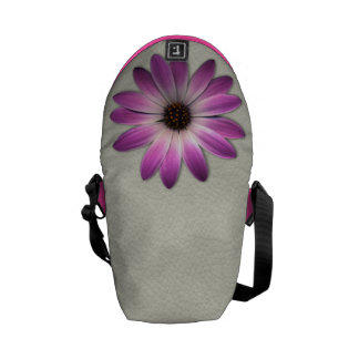 Pink Magenta  Daisy on Cream Leather Print Courier Bag