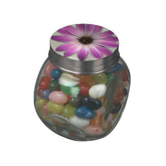 Pink Magenta  Daisy on Cream Leather Print Glass Candy Jar