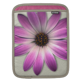 Pink Magenta  Daisy on Cream Leather Print Sleeve For iPads
