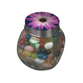 Pink Magenta Daisy on Royal Blue leather Print Glass Candy Jar